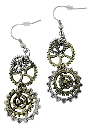 Steampunk Antique Earrings made for sensitive ears | Double Clock Wheel Gear Mixed Tone -