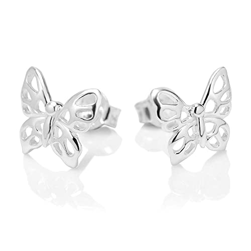 3286ad6a6 Amazon.com: 925 Sterling Silver Little Butterfly 11 mm Post Stud Earrings:  Chuvora Earrings: Jewelry