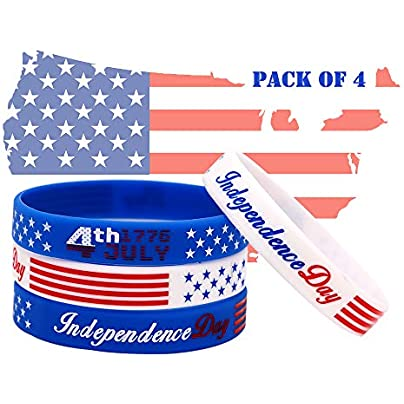 AVEC JOIE American Flag Rubber Bracelets Silicone Wristbands with USA Thin Blue Line Flag 4th July Independence Day Gift for American Patriots Army and Sport Fans Estimated Price £3.94 -