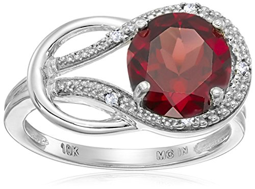 White Gold Garnet Ring (Garnet and Diamond Accent Love Knot Ring in 10k White Gold, Size 7)