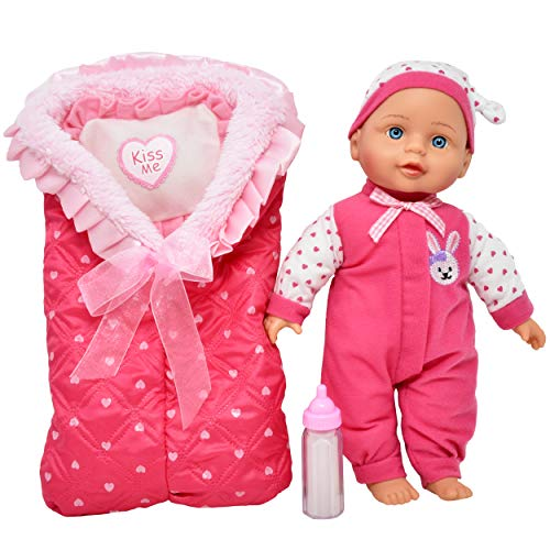 Baby Doll with Accessories Set - Includes 13 Inch Soft Body Baby Doll, Winter Sleeping Bag for Bedtime, Pillow, Milk Bottle and Bib