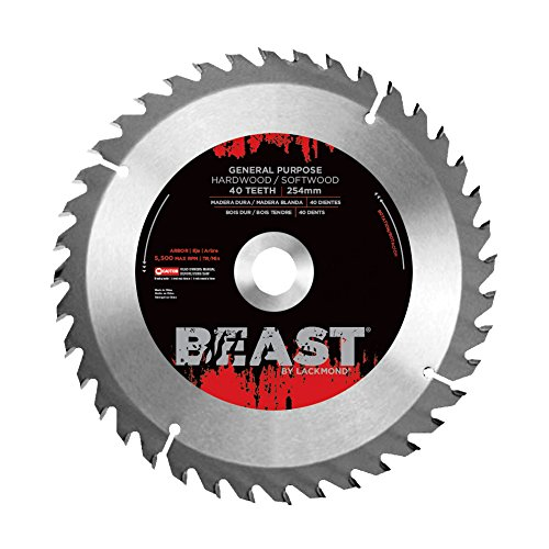 Lackmond Beast General Purpose Saw Blades - 10'' Wood Cutting Tool with 40 Teeth for Versatile Cuts & 5/8'' Arbor - WGPB10028 by Lackmond