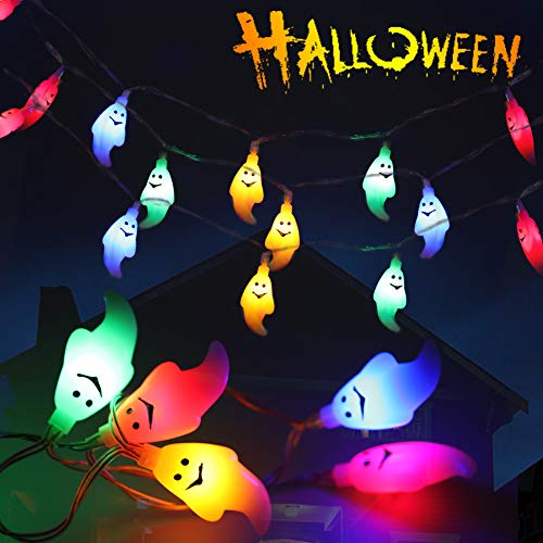 Litake Halloween Ghost String Lights , 30LEDs 8 Lighting Modes Halloween Lights with Remote Controller, Battery Operated…