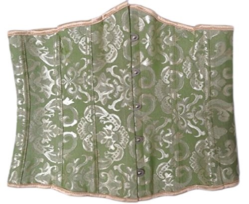 ouxiuli Womens Sexy Single-Breasted Tapestry Brocade Vintage Corset Green XL
