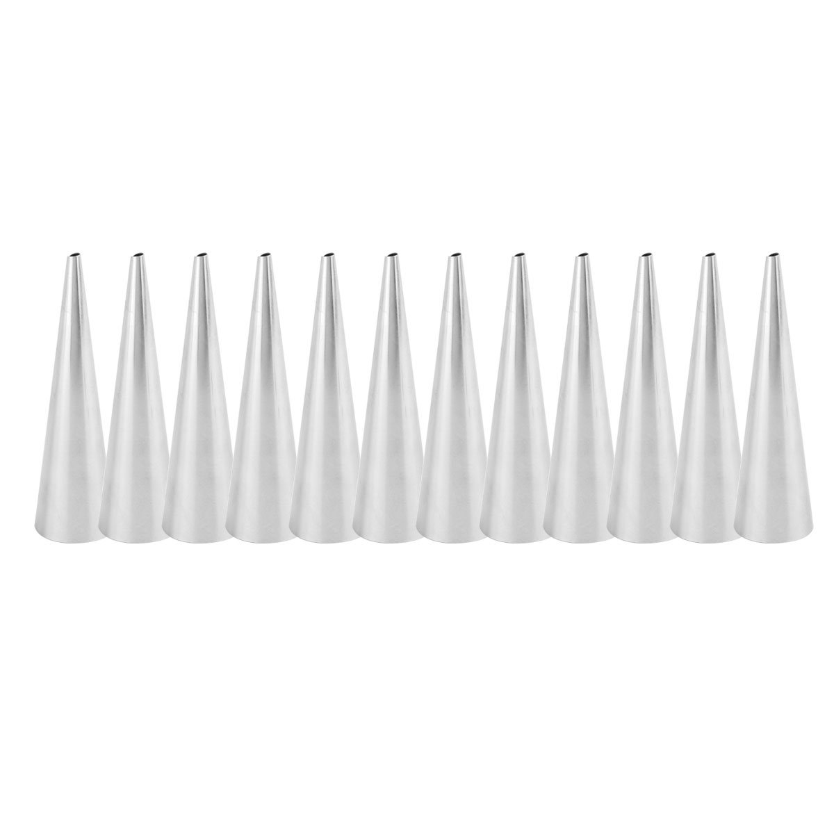 FEESHOW 12PCS Cannoli Baking Mould Shapes, Traditional Baking Mould Straight Tube, Cream Roll Conical Shaped One Size