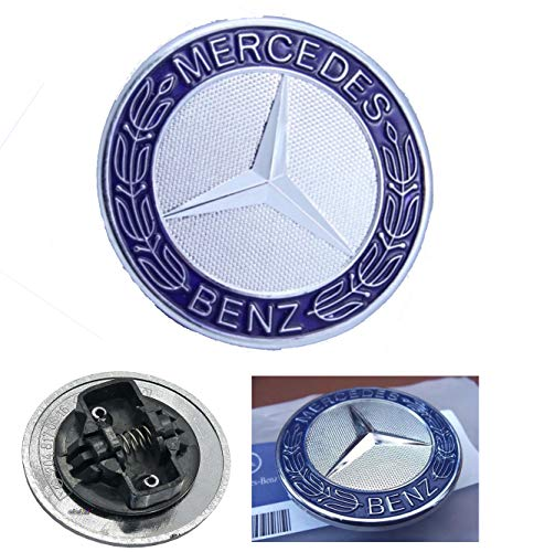 (HNLJP Flat Hood Emblem for Mercedes Benz C E SL Class Ornament Logo Blue)