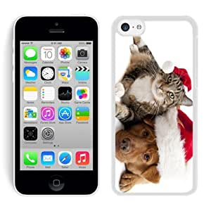 Best Buy Design Lovely Red Christmas Hat Dog With Cat White Hard Shell Iphone 5c Plastic Phone Case