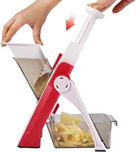 ONCE FOR ALL Onion Food Chopper Vegetable Slicer Dicer Fruits Slicer Manual Mandoline Slicer Kitchen Stainless Steel Peeler Veggie Chopper Manual Slicer For Veggie Salad Garlic Potato Cabbage Carrot easy pull quick slicer