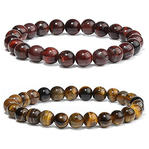2 packs Stone Bracelet, Red and Yellow Eye Bead Bracelet,Natural Stretch Bracelet for Men Women Couple - 2 Prong Setting Round Bracelet