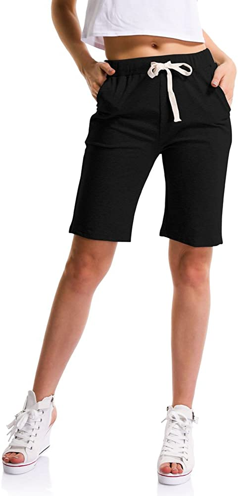 OCHENTA Womens Soft Knit Elastic Waist Jersey Shorts with Drawstring