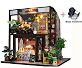 Wooden Doll House Miniature DIY House Kit Creative Room Great Gift for Lovers, Friends and Kids (Waiting For The Coffee)