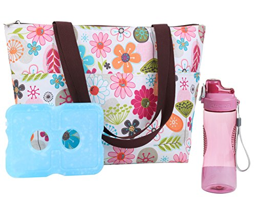 Lunch Bag Set by Dimayar Lunch Box with Ice Pack and 20 oz Matching Water Bottle,Full Zipper Closure Insulated Lunch Bag for Adults Flora Lunch Tote Ice Pack Bag Insulated Fashion Lunch Bag for Women (Lunch Box Ice Bag)