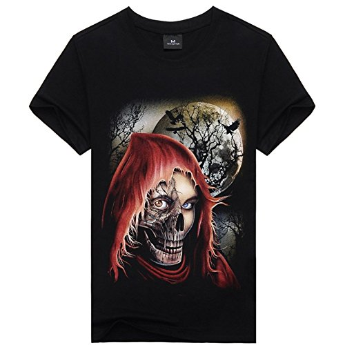 [Devil Skull Face Cool Graphic Tee For Mens Black Short Sleeve Cotton Shirt XL] (Devil Costums)