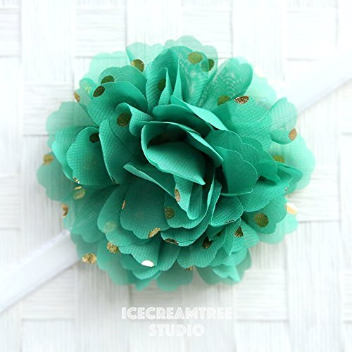 Dot Corsage - Jumbo Gold Foil Dot Bloom Collar Slide On, Flower Collar Accessories, Corsage Accessories, Collar Add On, Collar Flower - Green
