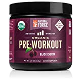 Organic Pre Workout – Black Cherry *Best Preworkout Powder for Energy and Focus* Creatine Free Natural Supplement to Burn Fat and Build Muscle. Gluten Free, Non-GMO by Natural Force, 3.22 Ounce