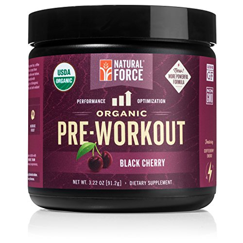 Organic Pre Workout - Black Cherry *Best Preworkout Powder for Energy and Focus* Creatine Free Natural Supplement to Burn Fat and Build Muscle. Gluten Free, Non-GMO by Natural Force, 3.22 Ounce