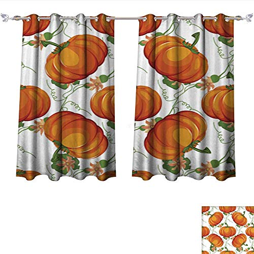 Philiphome Linen Blackout Curtains Halloween Seamless Pattern Background with Pumpkin Insulated Room Darkening Curtains W84 x -