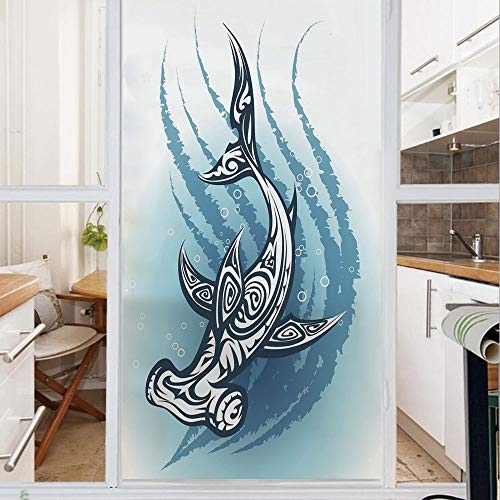 Decorative Window Film,No Glue Frosted Privacy Film,Stained Glass Door Film,Hammerhead Fish with Ornamental Ethnic Effects Swimming Ocean Image,for Home & Office,23.6In. by 78.7In Dark and Petrol Blue -