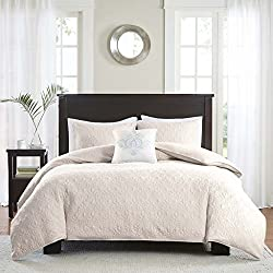 Madison Park Quebec Duvet Cover Full/Queen Size - Ivory, Damask Duvet Cover Set – 4 Piece – Ultra Soft Microfiber Light Weight Bed Comforter Covers