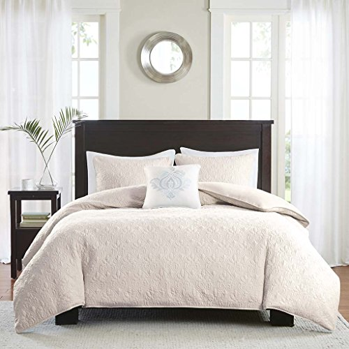 - Madison Park Quebec 4 Piece 2-in-1 Duvet Set, Ivory, Full/Queen