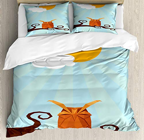 (Ambesonne Owl Print Duvet Cover Set, Sleepy Bird on Swirling Branch at Sunny Day on Pastel Sunburst, Decorative 3 Piece Bedding Set with 2 Pillow Shams, King Size, Multicolor)