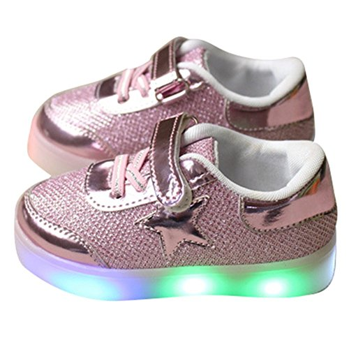 Kaifei Girls Shoes Hello Kitty Girls Princess Cute Rhinestone Led Shoes with Light Children Lighted Sneaker (29/11.5 M US Little Kid, Pink) (Hello Kitty Sneakers For Girls)
