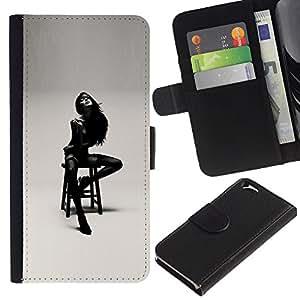 Planetar® Modelo colorido cuero carpeta tirón caso cubierta piel Holster Funda protección Para Apple (4.7 inches!!!) iPhone 6 ( Señora Girl Mujer Negro Blanco Posando)