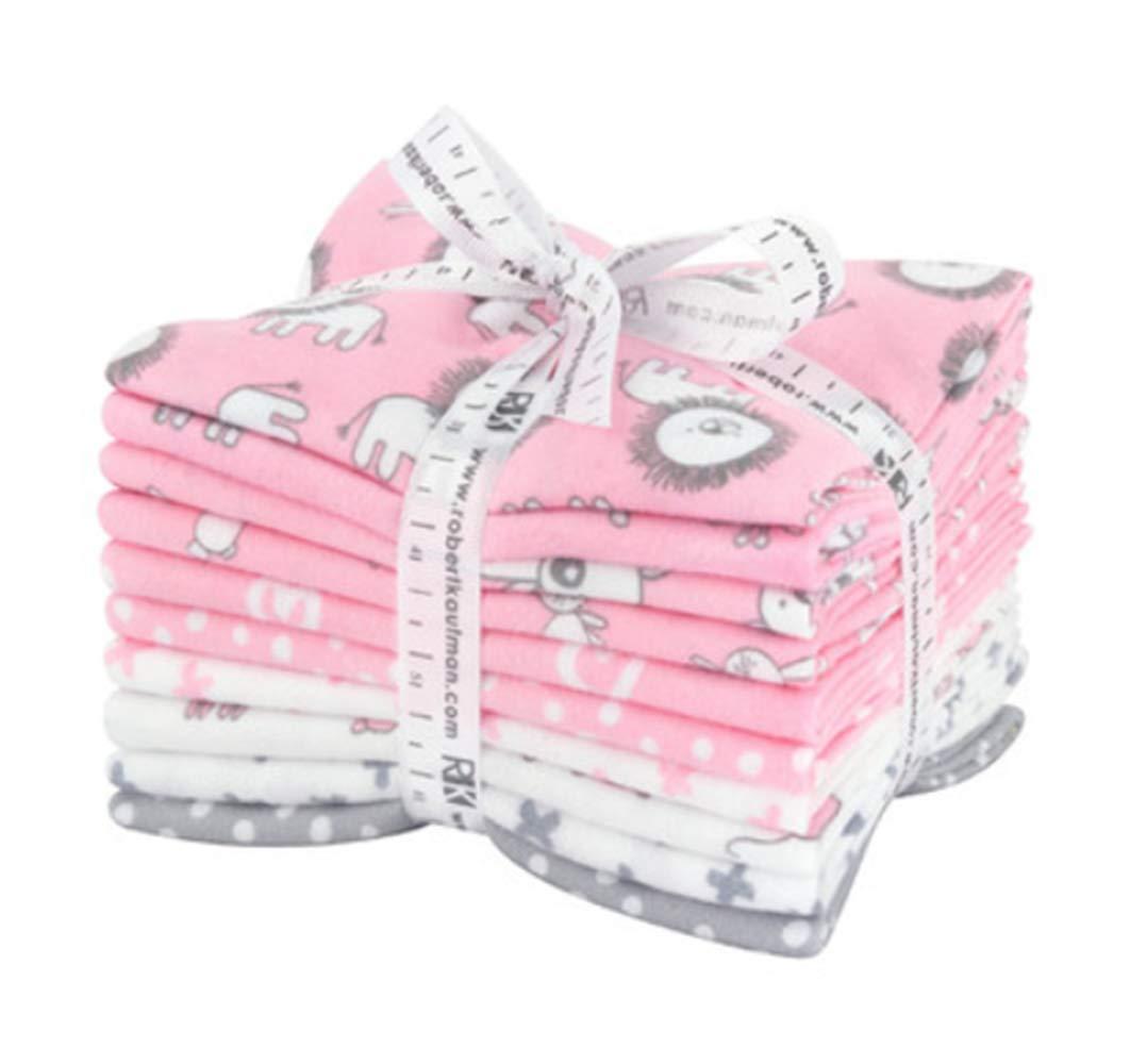 Penned Pals Flannel Fat Quarter Bundle 10 Precut Cotton Fabric Quilting FQs Assortment Baby Pink Colorstory by Ann Kelle for Robert Kaufman Robert Kaufman Fabrics
