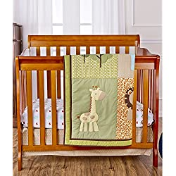 Dream On Me Reversible Portable Crib Set, Safari Animals Green