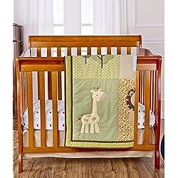 Dream On Me Reversible Portable Crib Set, Safari Animals Green