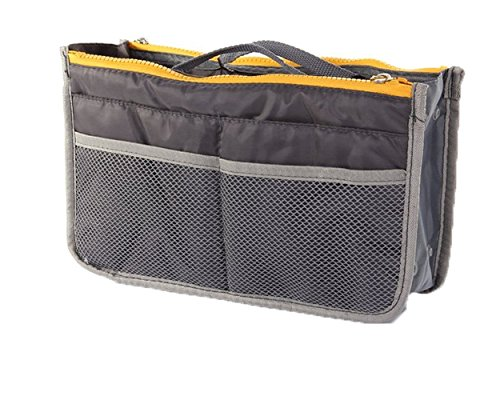 Gold-Confort Organizer 13 Pockets Insert Purse 11.6'' X 6.3'' Bag in Bag (Grey) by Gold-Confort