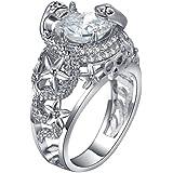 by lucky 1.7ct White Topaz 925 Silver Bridal Wedding Ring Women Men PROM Vtg Size 6-10 (8)