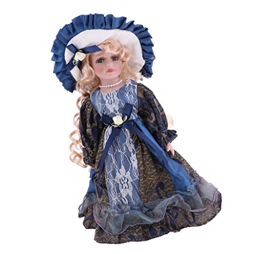 Fityle Handcrafted Winter Victorian Porcelain Girls Doll With Display Stand 12 Inch