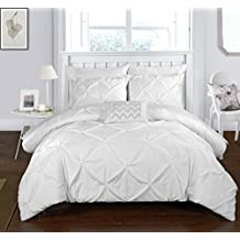Chic Home 4 Piece Daya Pinch, Ruffled & Pleated Complete Duvet Cover Set Shams, King, White