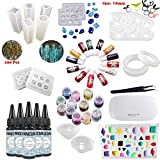 INNICON 3X 30ML No Mixing UV Glue Epoxy Resin 15 Silicone Molds 13X Epoxy Tint 12X Sequins Glitters Lamp Tweezers 100 Screws Eye Pins For Pendants Earrings Bracelets Gemstone Charms