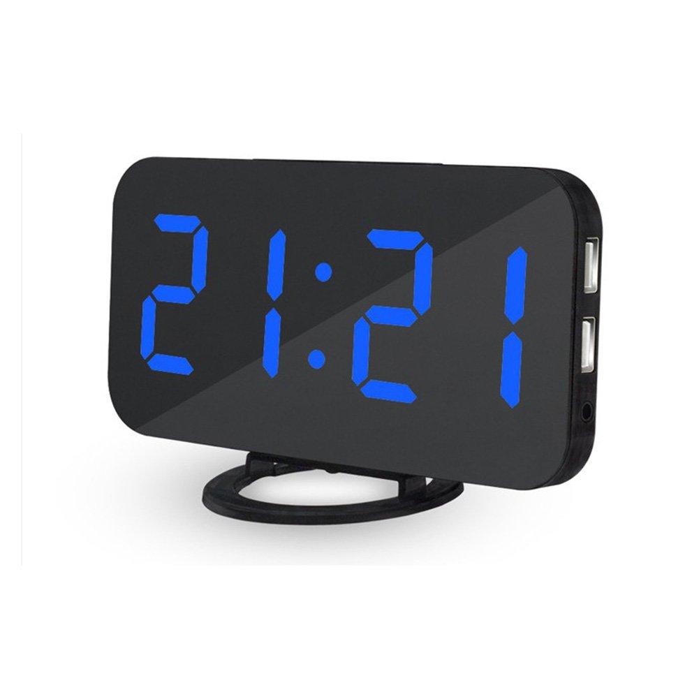 IDABAY Electric Alarm Clock Led Large Number Digital Alarm Clock Mirror Table Clock with 3-Level Adjustable Brightness 2 USB Charging Ports Snooze Function Sleep Timer for Bedroom Living Room Decor