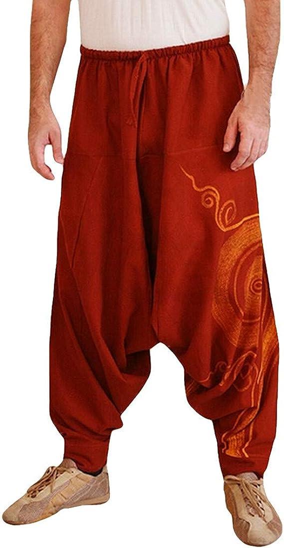 Vickyleb Yoga Harem Pants for Men Women Premium Quality Cotton Baggy Hippie Boho Gypsy Aladdin Yoga Harem Pants with Pockets