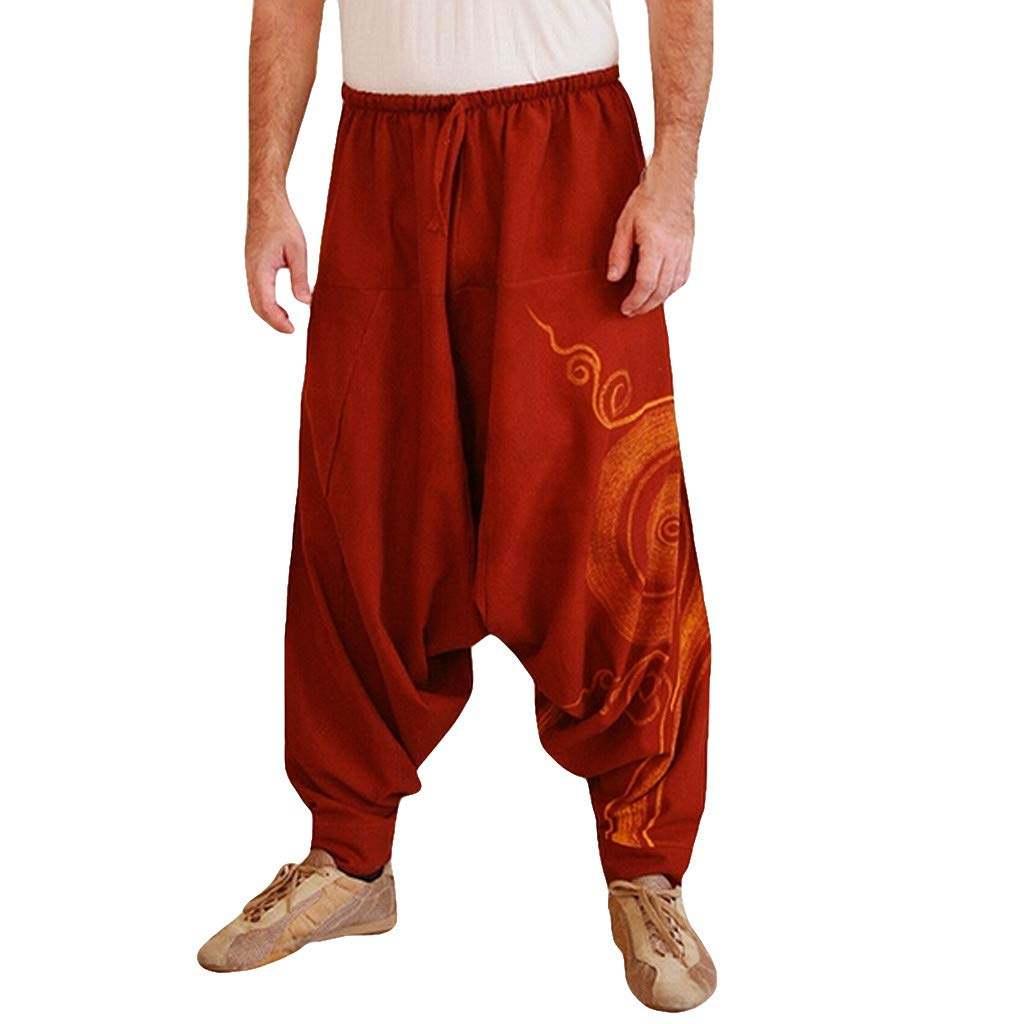 TIFENNY Men Ethnic Printed Overalls Casual Pocket Sport Yoga Work Casual Trouser Fashion Loose Burger Pants Sweatpants Red