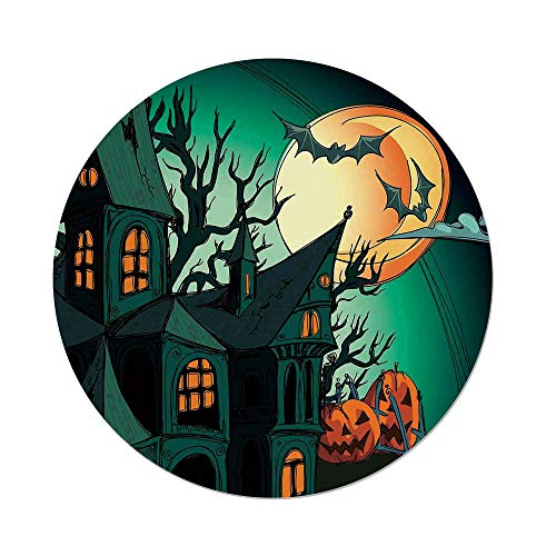 Polyester Round Tablecloth,Halloween Decorations,Haunted Medieval Cartoon Bats in Twilight Gothic Fiction Spooky Art,Orange Teal,Dining Room Kitchen Picnic Table Cloth Cover,for Outdoor Indoor ()