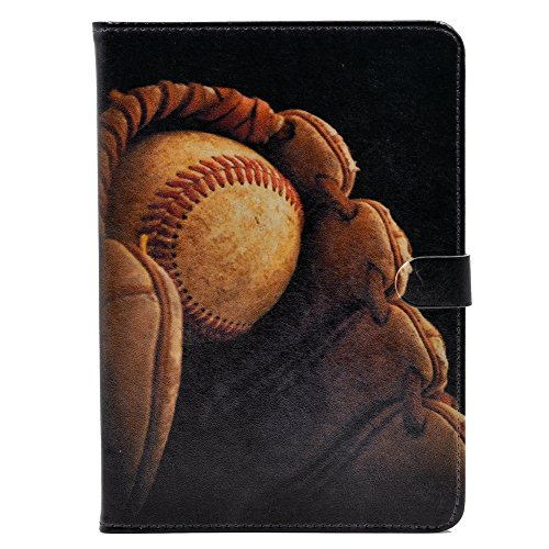 YHB iPad 2017/2018 iPad 9.7-inch Case, Baseball in Glove Vintage Pattern Leather Flip Stand Case Cover For Apple iPad 9.7-inch