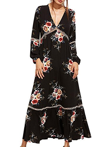 Women Long Sleeve Cotton Linen Casual Long Maxi Kaftan Hippie Dress - 5