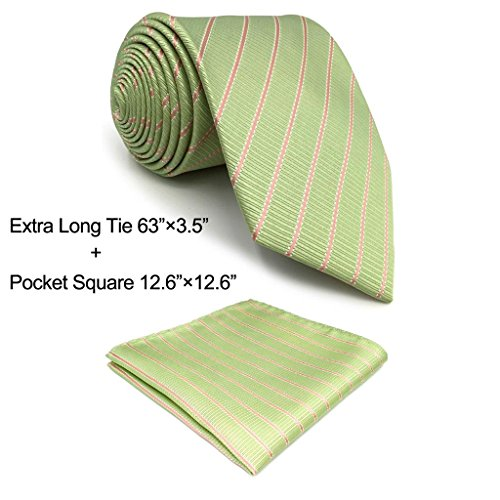 Green Stripe New Designer Necktie (Shlax&Wing Light Green Olive Stripes Neckties Silk Tie For Men New Design Classic Extra Long)