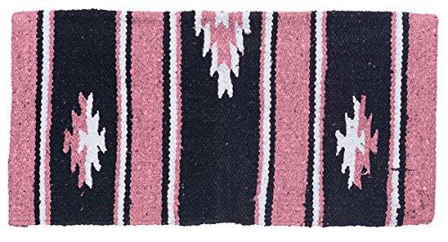 Tough-1 55% Wool 19″ x 19″ Sierra Miniature Saddle Blanket with Navajo Pattern (Pink/Black)