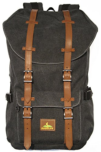 RUGGLIFE Vintage Canvas Backpack Leather Military Rucksack Hiking Daypack Casual (Black) by RUGGLIFE