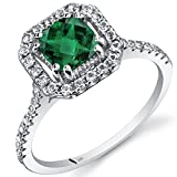 14K White Gold Created Emerald Cushion Cut Halo Ring 0.75 Carats Sizes 5 to 9