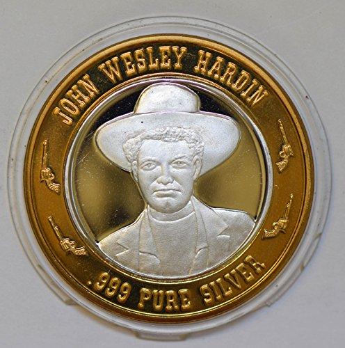 IE BU0340 US casino chip token john wesley hardin silver DE PO-01