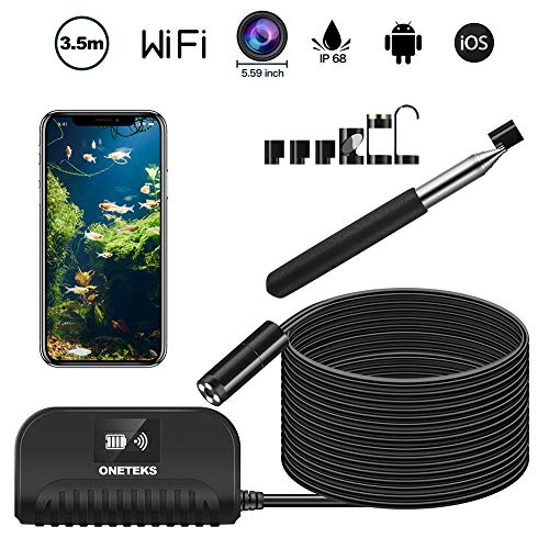 ONETEKS Wireless Endoscope 1.3MP WiFi Auto Focus Inspection Camera,1944P HD Borescope Camera Snake Camera for Android Smartphone and iOS iPhone,iPad and Tablet(11.5FT) (Black) (Auto Wifi)