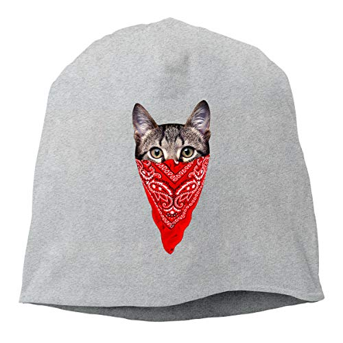 Hip-Hop Knitted Hat for Mens Womens Cat with Red Scarf Unisex Cuffed Plain Skull Knit Hat Cap Head Cap]()