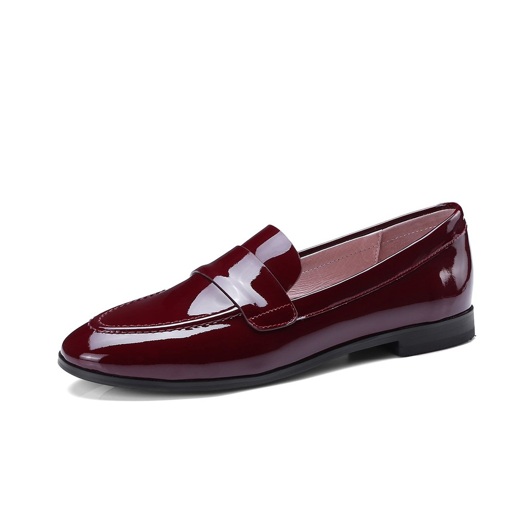 Penny Loafers for Women Patent Leather Flat Shoes Slip-on Round Toe Low Heels Rubber Soles Wine Red Size 7