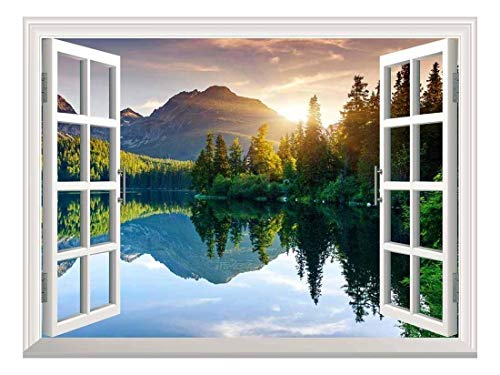 - wall26 A Peaking View Through The Forest of The Morning Sunrise - Wall Mural, Removable Sticker, Home Decor - (36